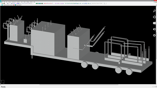 Mobile Substation modeled in PLS-POLE for evaluation of line clearances.  Example courtesy of Drew Bertke of Ampirical Solutions