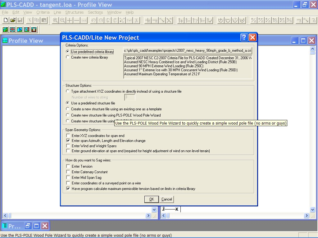 Selecting the PLS-CADD Lite Options