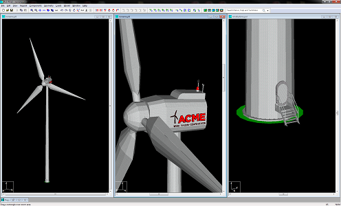 Wind turbine model for visualizaton by Jesse Kohler of Power Line Systems