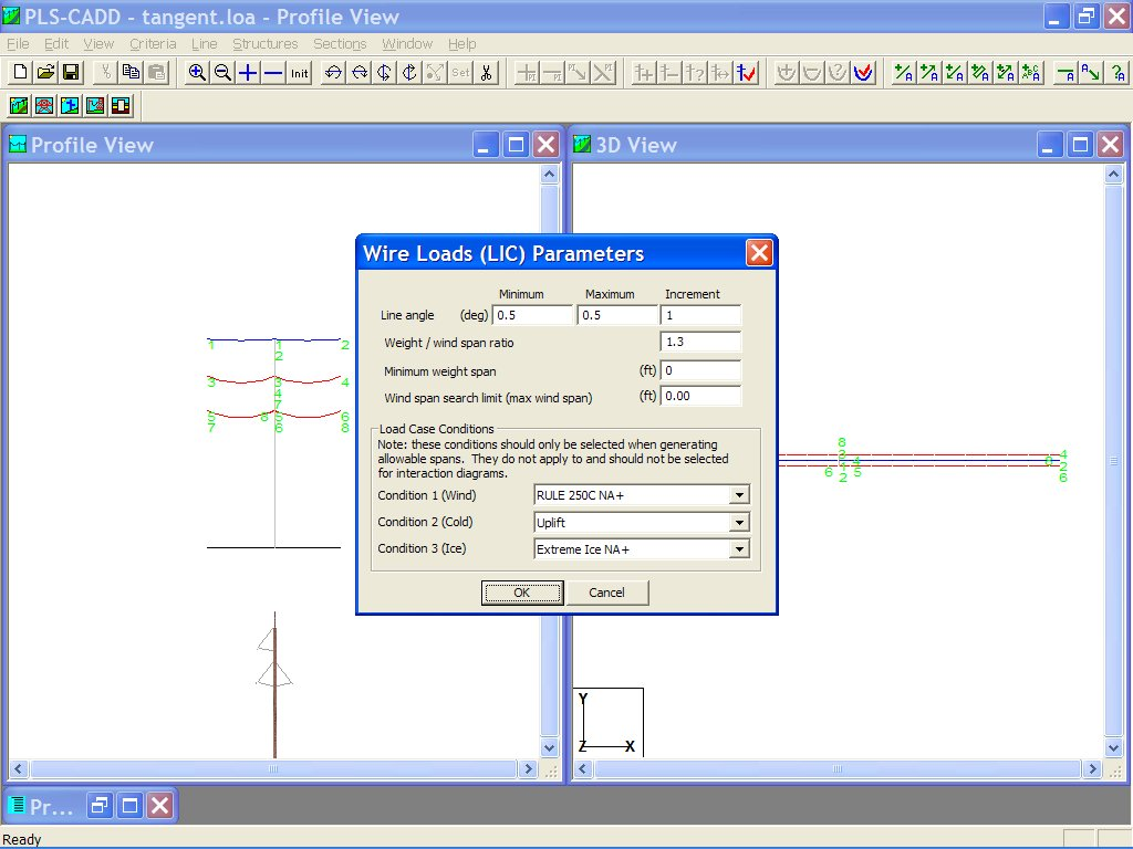 Selecting the Wind and Weight Span Parameters in PLS-CADD Lite