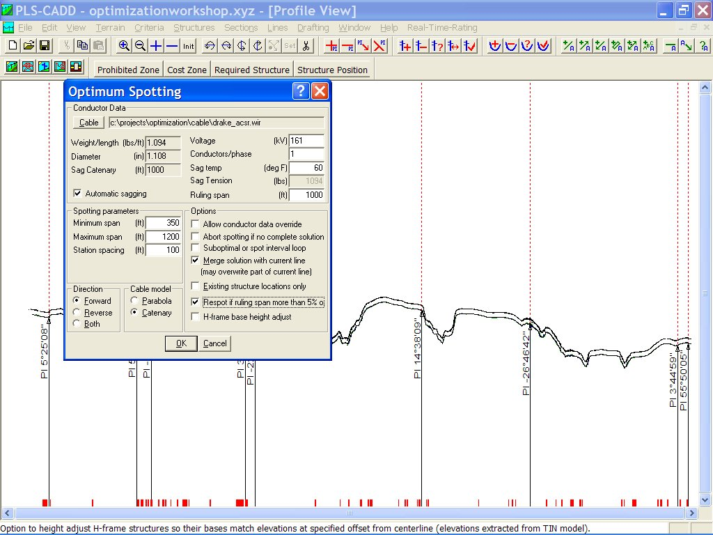 Selecting the Spotting Parameters in PLS-CADD