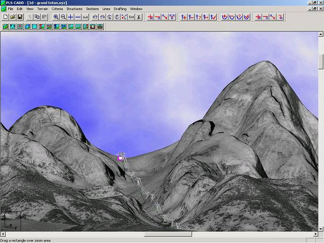 PLS-CADD line shown on DEM terrain with DOQ drape